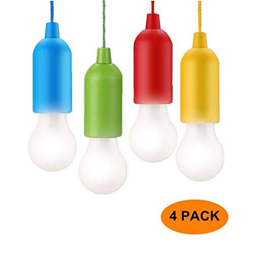 Paquete de 4 luces LED de Extracción, Batería Portátil NBNANXUN Que Funciona Con pilas, luz decorativa de cuerda Para Acampar en Interiores y Exteriores de Jardín (rojo, amarillo, azul, verde)