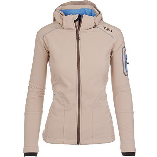CMP Softshell Jacke Damen Franceska | Fleece-gefüttert | Wasserdicht | mit Kapuze | 8000 mm Wassersäule | Rund-Um-Schutz