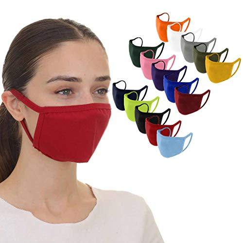 15PCS Cotton Face_Mask for Adults,Solid Color Washable Reusable Face Mouth Protection,Dust Haze Breathable Face Bandanas for Women&Men (Multicolor)
