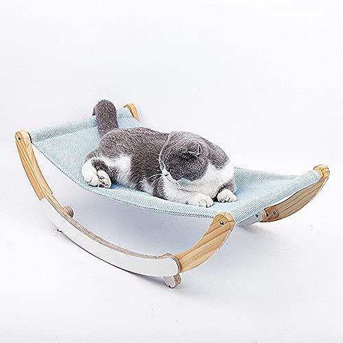 GerTong - Letto per gatti 2 in 1, culla e amaca in legno per animali domestici, amaca per gatti, lavabile e traspirante, con 2 fodere per letto lavabili