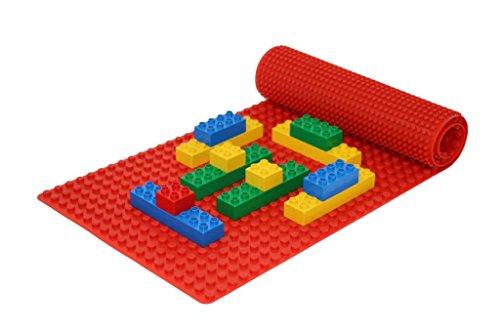Beslo Hochwertige Baustein Matte aus Silikon I Doppelseitige Bauplatte Groß I Rollbare, Wasserfeste Grundplatte Kompatibel mit LEGO DUPLO I Flexible Platte BPA-frei, 30,5 x 80,5 cm Rot
