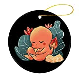 Monster Of The Pocket Sleeping Charmander 2020 personalized Christmas decoration souvenirs, round ceramic double-sided Christmas ornaments, novelty Christmas trees, cars, home party decorations 2.8 in