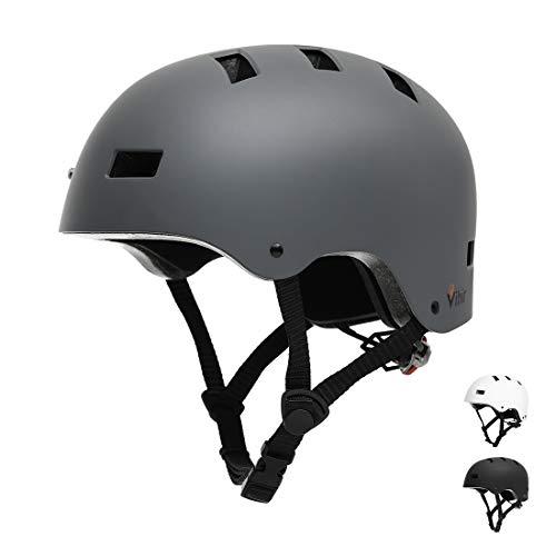 Vihir Erwachsene Fahrradhelm Skaterhelm E-Scooter E-Roller BMX Fahradhelm Herren Damen Sport Helm für Männer & Frauen Schwarz Weiß Dunkelgrau (M 54-58cm, Dunkelgrau