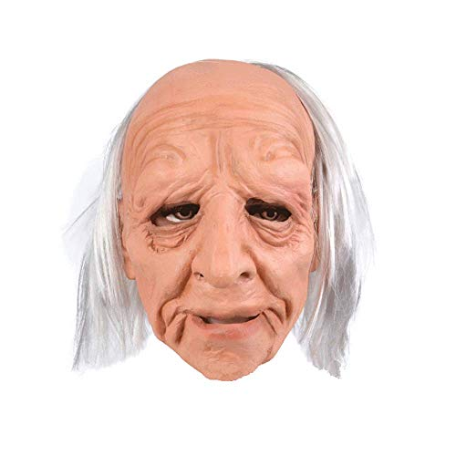 YUANYOU Mscara de Halloween para abuela peluca tocado mscara de ltex para hombre viejo, tocado de rendimiento, accesorios de fiesta de ltex mscara de cara completa