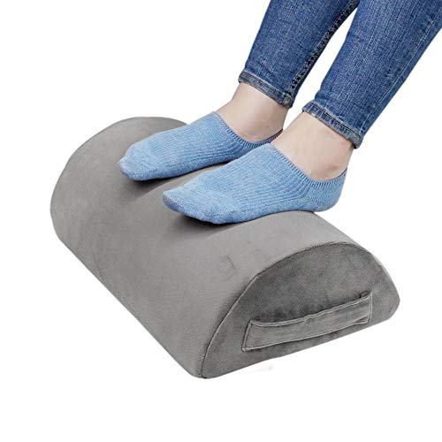 Ergonomic Foot Rest Cushion Under Desk with High Rebound Ergonomic Foam Non-Slip Half-Cylinder Footstool Footrest Ottoman for Home Office Desk Airplane Travel (Grey)
