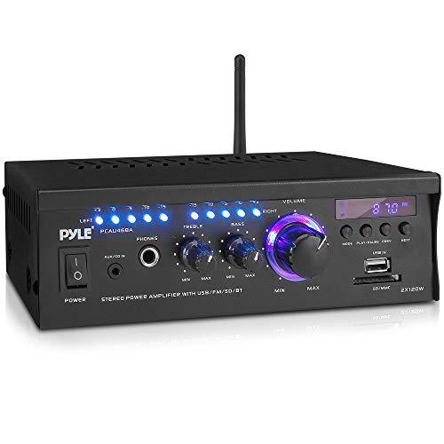 Wireless Bluetooth Home Stereo Amplifier - 2x120 Watt Power Amplifier Home Audio Bluetooth Receiver System W/Blue Led Display, USB/SD, AUX, RCA, Headphone Jack - Remote - Pyle PCAU46BA