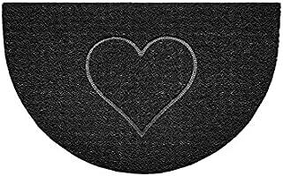 Nicoman Embossed Halfmoon Half Circle Door Mat Dirt-Trapper Jet-Washable Doormat 70x44cm (Black, Heart Shape) - Use Outdoo...