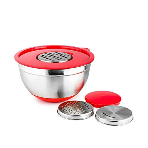 YANCAI Mixing Bowls Set(Stainless Steel Mixing Bowls,Lid,3 Grater Attachments), with Measurement Marks & Non-Slip Bottoms, for Mixing & Serving(24cm)