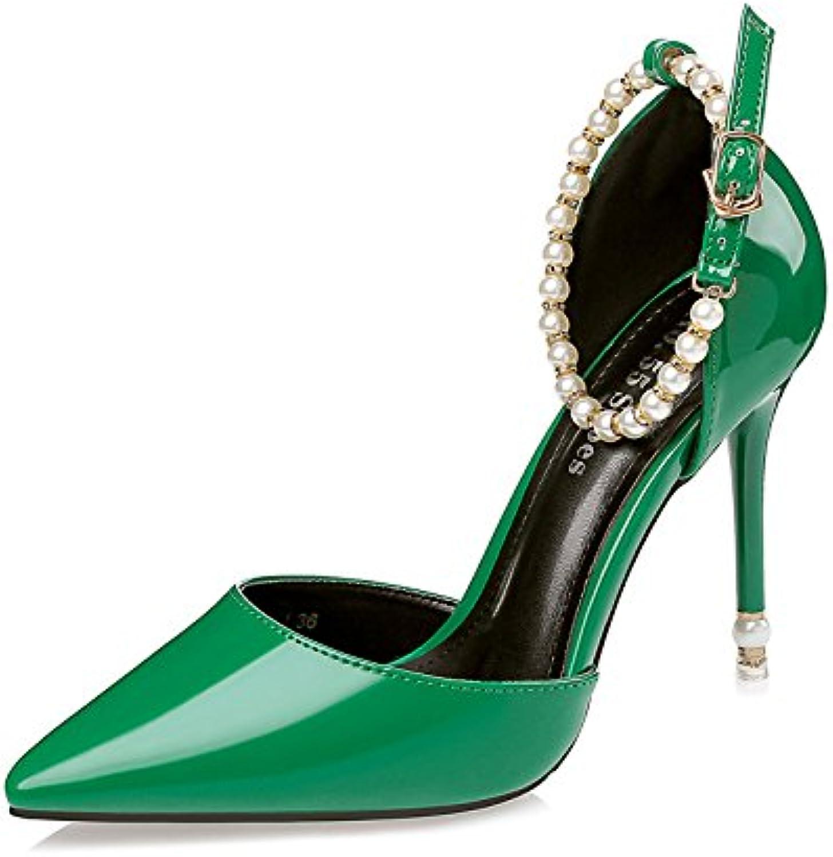 FLYRCX Europäische sexy Spitzen Lack High Heels mit Einer feinen feinen feinen Dame Party Schuhe  7eea98