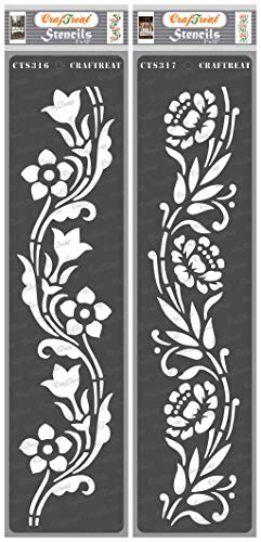 CrafTreat Floral Border Stencils for Painting on Wood, Canvas, Paper, Fabric, Floor, Wall and Tile - Border12 and Border13 - 2 Pcs - 3x12 Inches Each - Reusable DIY Art and Craft Stencils for Borders