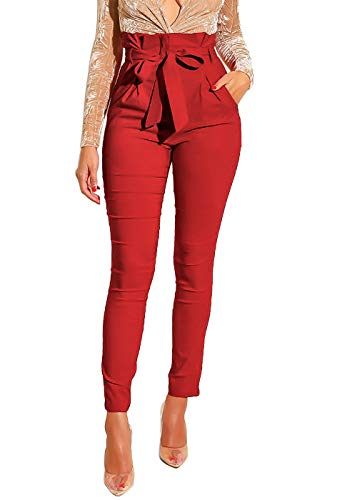 Ohvera Women's All Occasions Paper Bag Waist Pants Trousers with Tie Pockets Red Medium