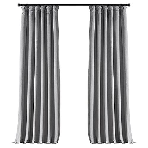 HPD Half Price Drapes VPCH-145002-84 Signature Blackout Velvet Curtain (1 Panel), 50 X 84, Silver Grey