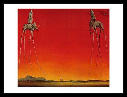 Salvador Dali Les Elephants Poster Kunstdruck Bild im Alu Rahmen in schwarz 60x80cm