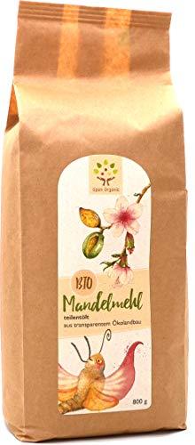 Bio-Mandelmehl (800g) teilentölt, naturbelassen - Vollkern: aus ganzen spanischen Süßmandeln der Sorte