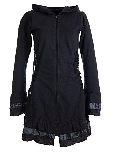 Vishes – Alternative Bekleidung – Elfenmantel aus Baumwolle mit Zipfelkapuze und Rüschen zum Schnüren schwarz 44