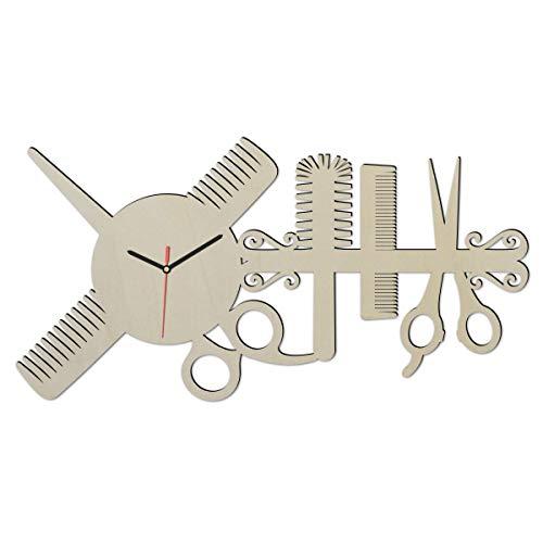 Individuelle Holz Wand-Uhr Friseur-Geschenk Schere lustige witzige Haar-Schneide Frauen-Geschenke individuell für Freund-in Friseure Friseur-Salon Haarstudio Style - Made in Hessen
