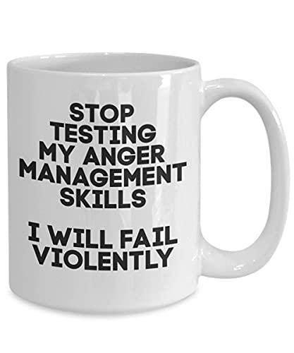 Taza de gestión de la ira, taza de café de gestión de la ira, stop testing my ira management, taza divertida, taza de té, blanco, día de San Valentín