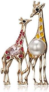 ZXNM 3 Pezzi Giraffa Spille Spille Cartoni Animati novità Smalto Corpetto Lega Natale Perle Distintivo Accessori di Abbigl...