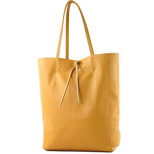 modamoda de - T163 - Ital. Shopper mit Innentasche aus Leder, Farbe:Senfgelb