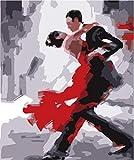 FGHJSF Pintar por numerosPareja de Baile Pintura al óleo de DIY por Números con Pinceles y Pinturas para Adultos Niños Principiantes Lienzo Pintura al óleo - 40 X 50 cm (Sin Marco)