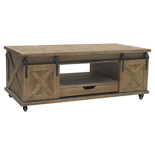 L'ORIGINAL DECO Large Coffee Table for Living Room Wood Iron Wheeled Door 120 cm