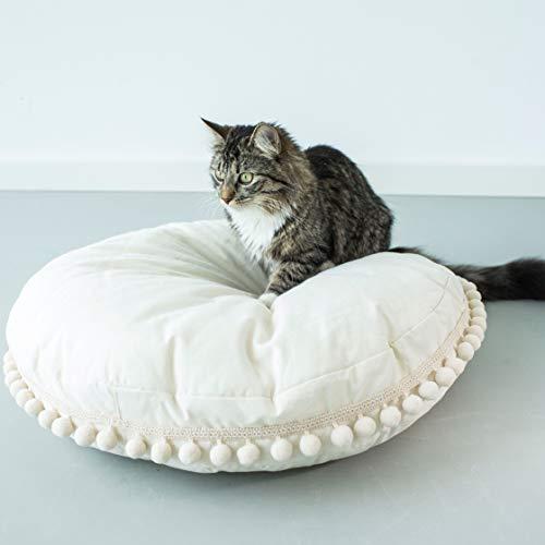MINICAMP Boho Style Hond Kussen: Grijs Hond Bed, Puppy Bed Met Kwastjes van 100% Katoen & Hypo-Allergene Silicon Vulling. Wasbaar.