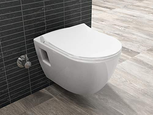 Aqua Bagno | Hänge-Dusch-WC LEIA Taharat | mit integrierter Bidet/Taharet-Funktion | manuelle Bedienung | Softclose WC-Sitz | modernes Design, 498x355 mm