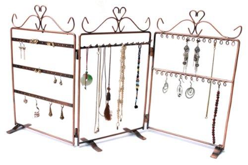 Yudu Paravent Tisch-Vitrine Metall Ohrringständer Kettenständer Ohrsteckerdisplay