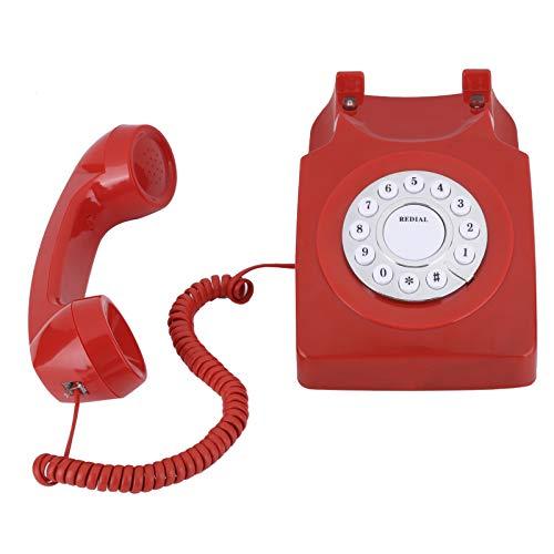 Teléfono Multifuncional para el hogar, teteléfono Antiguo, teléfono Multifuncional, teléfono Retro para Oficina, teléfono Antiguo de la Corte, con Botones Grandes, Tono de Llamada(Rojo)