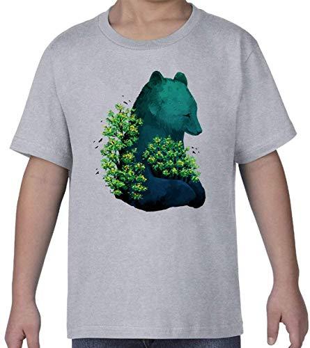 Giant Nature Bear Trees and Birds Gris Kids Crew Neck T-Shirt XL