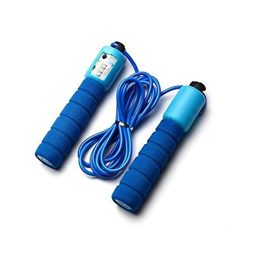 Huiyue Professionelle Sponge Springseil mit elektronischer Zähler 2.9m Einstellbare Schnelle Geschwindigkeitszählung Springseil Draht Trainingsgeräte Fitnessgeräte (Color : Blue)