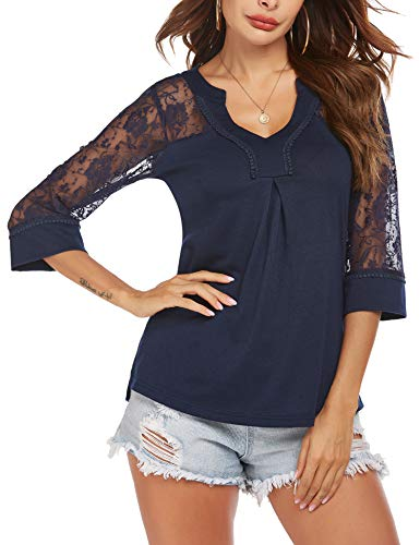 SoTeer Lace Top Women's 3/4 Sleeve Blouse Deep V Neck Chiffon Tops Navy Blue