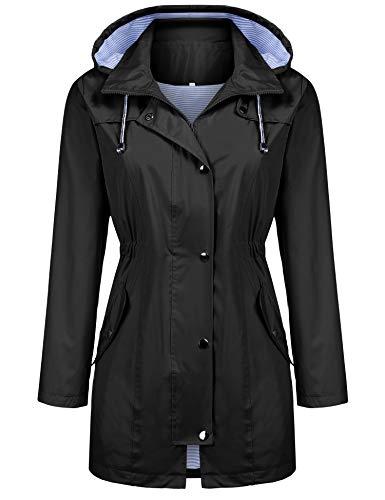 Raincoat Women Waterproof Long Hooded Trench Coats Lined Windbreaker Travel Jacket Black S