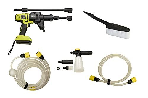 Druckreiniger 18V 2.0Ah 20 Bar inkl. Auto-Waschbürste, verstellb. Düse, 2x Verl., 6m Schlauch, 1,5m Schlauch Seifenbehälter B-WARE 50121