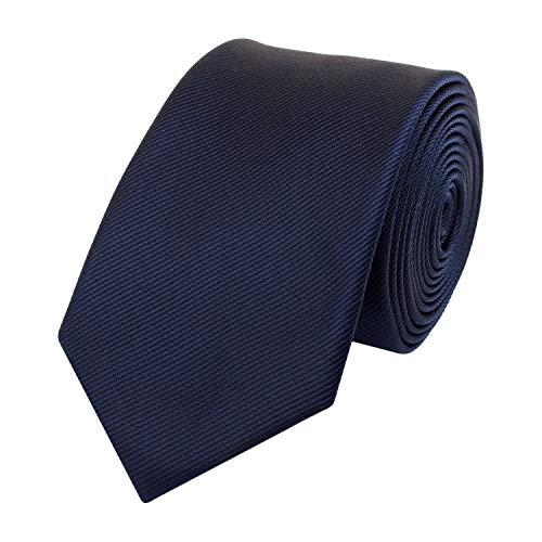 Fabio Farini - Elegante schmale Herren Krawatte einfarbig in 6cm Breite in verschiedenen Farben Dunkelblau