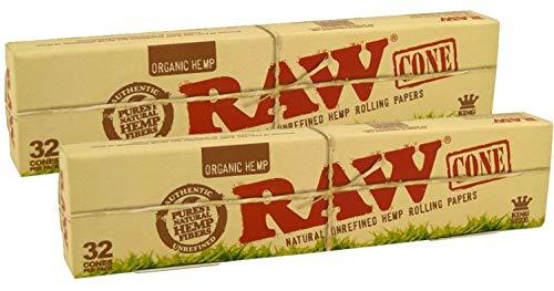 Raw organic KingSize 64x konische Hülsen ungebleicht (2x32) Jointhülsen KS Joint Cones pre-rolled