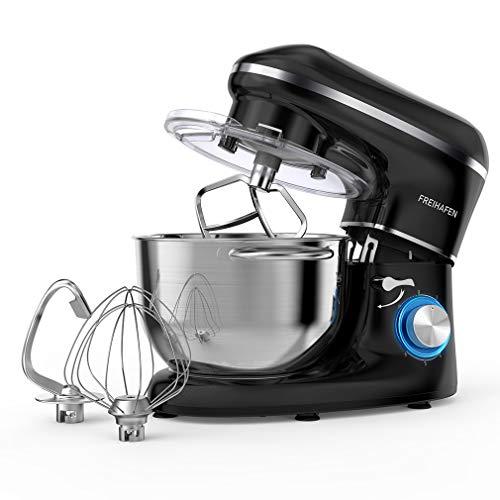 Küchenmaschine Knetmaschine FREIHAFEN 5.5L Reduzierte Geräusche Knetmaschine mit Rührbesen, Knethaken, Schlagbesen, Spritzschutz, 6 Geschwindigkeit mit Edelstahlschüssel Teigmaschin (Schwarz)