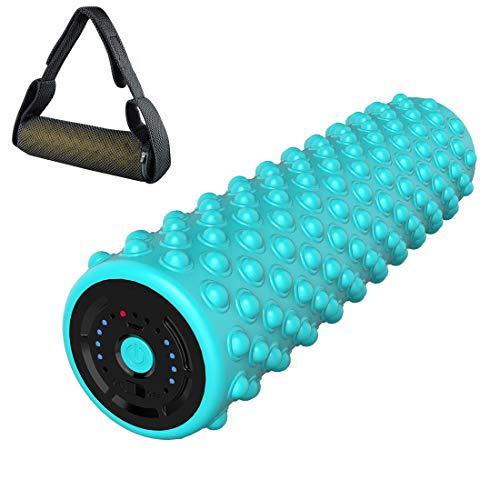 Auzev Elektrische Schaumstoffrolle Massagerolle Faszienrolle Vibration Massagerolle Pilates Oder Yoga Myofasziale Entspannung 4 Speed Vibrating (Blau)