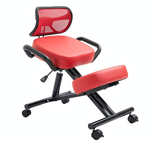 New! Stork (by Perfect Perch) - Beautiful Ergonomic Kneeling Chair with Leather Cushions, Back Support, Pneumatic Height Adjustment, Side Handles, Maximum Back Pain Relief, Home & Office (RED)
