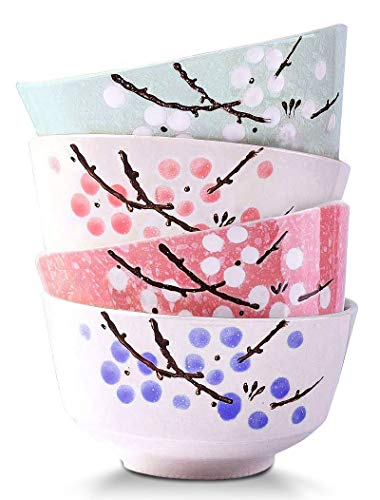 VanEnjoy Set of 4 Japanese Style Ceramic Rice Bowl,4 Assorted Color Cherry Blossoms Among Snow Flake Pattern Bowls Set