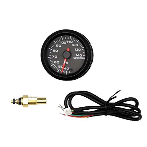7 Color Electric Water Temperature Gauge Kit with Sensor - Black Dial, 2-1/16' (52Mm)