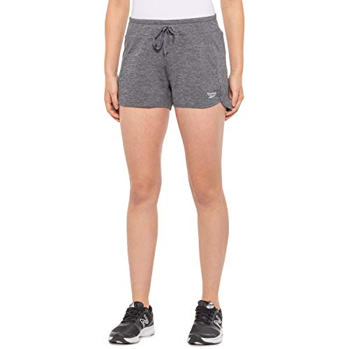 Reebok Women's Running Shorts, Relaxed Fit and Mid-Rise Waist Training Shorts w/Liner - 3 1/4 Inch Inseam (Medium, Studio Medium Grey Heather)