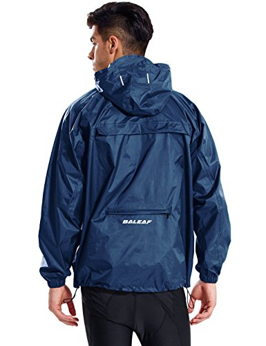 BALEAF Unisex Regenjacke Einpackbar Wasserdicht Wetterschutz Jacke mit Kapuze Poncho Regenmantel Navy XL