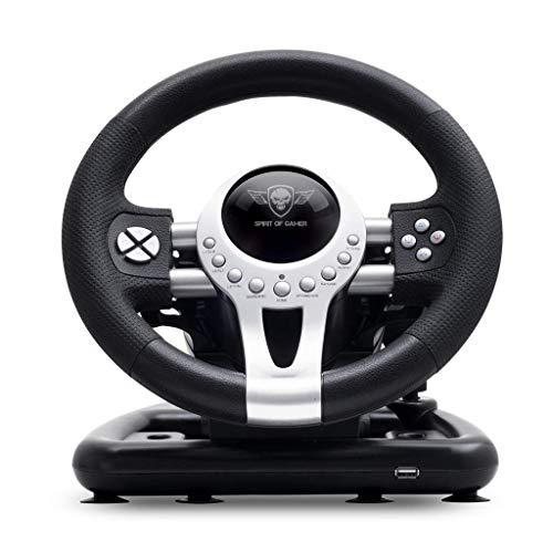 SPIRIT OF GAMER – RACE WHEEL PRO 2 – Volant de Course Avec Pédales, Palettes et Levier de Vitesse – Rotation du Volant – Support de Fixation – Double Moteur de Vibration – PS4 / XBOX ONE / PC / SWITCH