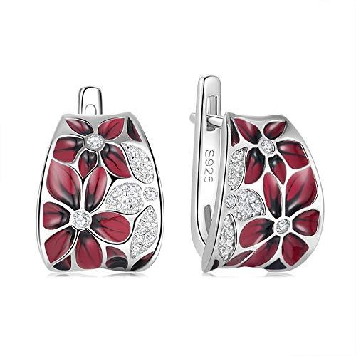 Pendientes de plata de ley 925 para mujer, exquisito esmalte artístico con diseño de flores, pendientes de botón, regalos de joyería de boda de compromiso