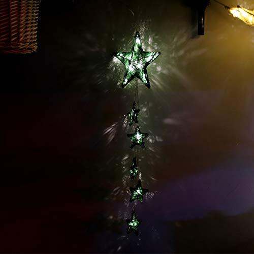 Lukame Weihnachten Led Dekorative Lichter 10Leds Kugel Pentagramm Laterne Lichterkette Weihnachtsbeleuchtung (Grün)