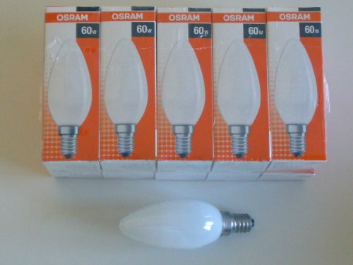 10 x OSRAM Glühlampe Glühbirne Kerze E14 60W 60 Watt matt 230V Leuchtmittel