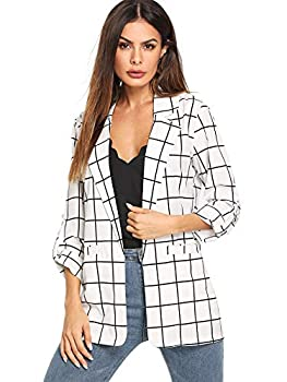 Milumia Women s Open Front Blazer Casual Lightweight Plaid Roll Up Sleeve Jacket White X-Large