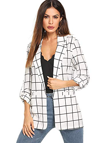 Milumia Women's Open Front Blazer Casual Lightweight Plaid Roll Up Sleeve Jacket White X-Large