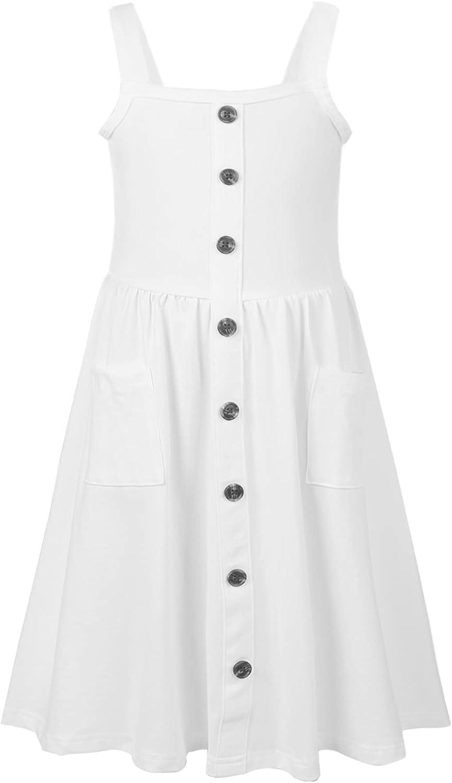 Jorssar Girls Tie Dye Summer Sundress Kids Strap Sleeveless Button Pocket Dress